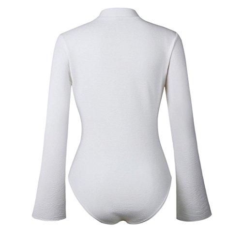 shirt Tops Autunno Tuta Bianco Camicette Aderente Abcone s Casual Camicie T xl Cerniera Pullover Elegante Lunghe Maniche donna Con Felpa Aq4Svwq