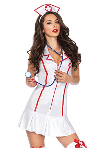 Leg Avenue Women's 3 Piece Head Nurse Costume, White/Red, Medium/Large