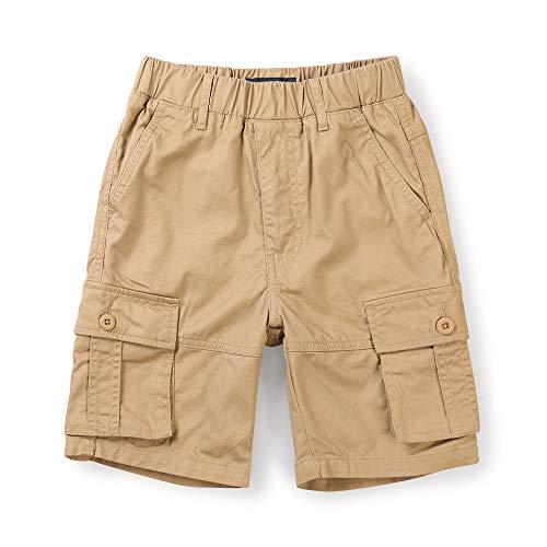 OCHENTA Boy's Lightweight Pull on Cargo Shorts, Cotton Casual Slacks Khaki Tag 140-7-8 Years - Light Khaki Shorts Cargo