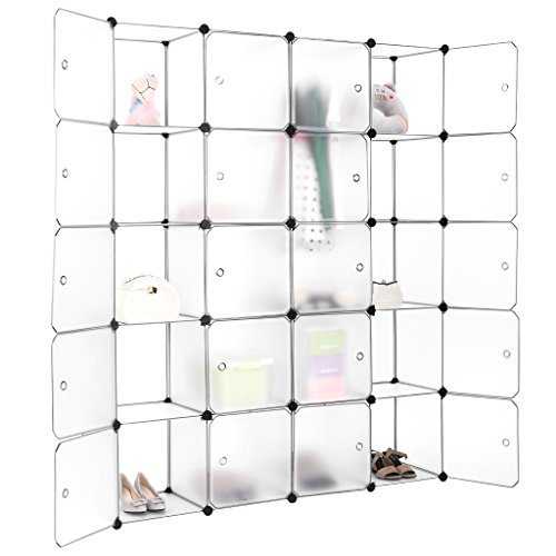 Review LANGRIA 20-Cube DIY Modular Shelving Storage Organizing Closet with Translucent By LANGRIA by LANGRIA