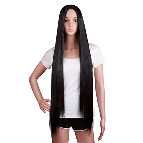 MapofBeauty 100cm Long Straight Sexy Costume Anime Wig (Black) ()