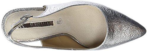 Maria Plateado Plata Tacón Mara con de Mare Mujer Punta Zapatos Metalic Napa para Pu Cerrada rvrwq