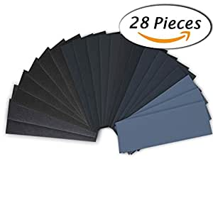 28 Pcs 120 to 3000 Grit Wet Dry Sandpaper 9 3.6 Inches for Automotive Sanding, Wood Furniture Finishing, Wood Turing Finishing