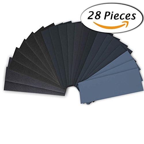 28 Pcs 120 to 3000 Grit Wet Dry - Wood Finishing Sandpaper