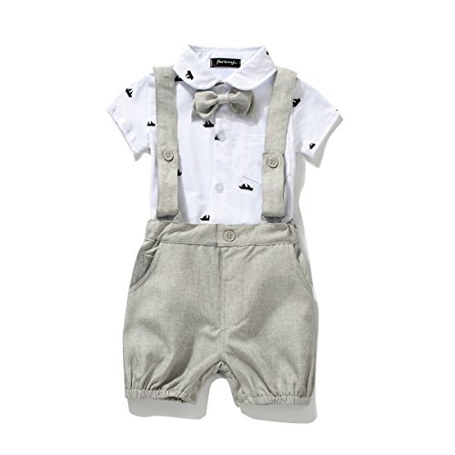 Ferenyi US Baby Boys Bowtie Gentleman Romper Jumpsuit Overalls Rompers (7-12 months, (Baby Boy Dress Outfit)