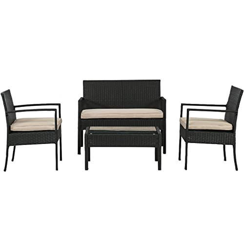 BestMassage Outdoor Wicker Patio Furniture Set 4 PC PE Rattan Chairs Cushions Outdoor Garden Furniture Sets
