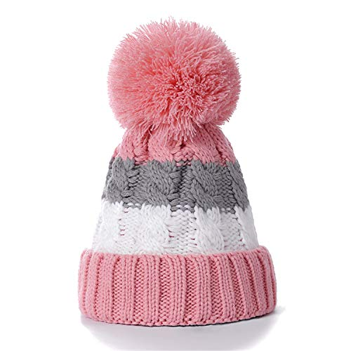Warm Winter Hat for Women Female Fur Lined Soft Beanie Neck Warmer Scarf Thick Striped Color Knitted Hat Fashion Pompom Hat Pink - Beanie Striped Lined