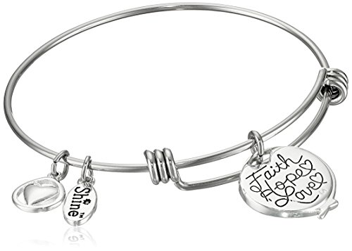 "Two-Tone Silver Plated ""Faith Hope Love"" Adjustable Bangle Bracelet"