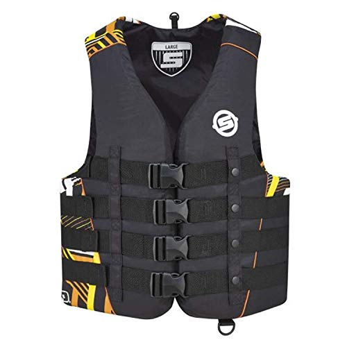 Vest Mens Nylon 4 Buckle - BRP Sea-Doo Men's Vibe Nylon 4-Buckle Life Jacket Vest PFD XX-LARGE ORANGE