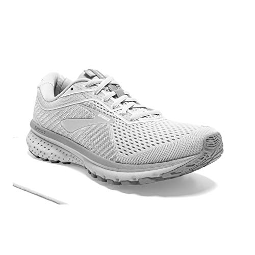 Brooks Womens Ghost 12 Running Shoe - Oyster/Alloy/White - D - 8.5