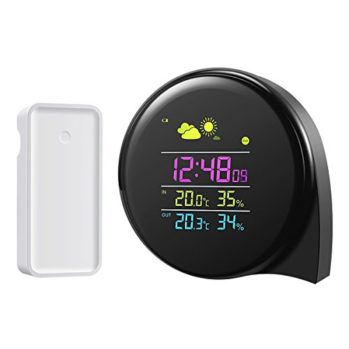 ORIA Wireless Weather Station, Mini Smart Indoor/Outdoor Thermometer With Remote Sensor, Dual Alarm Clocks, Pressure, Moon Phase, Comma Shaped, Compact & Colorful LED for Home, Office and Outdoors Mini Weather Station