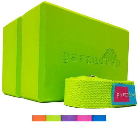 Yoga Blocks and Strap Set by Pavandeep (3pc Kit) EVA Yoga Foam Block (2 Pack) + Yoga Strap (1pc) Firm Grip for Balance Stability & Support in Yoga Pilates Meditation (Lime Green)