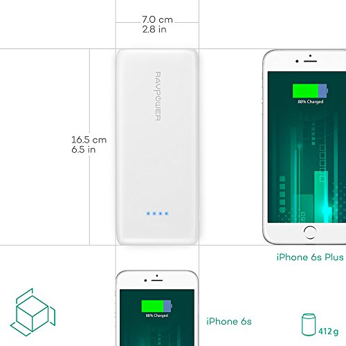 RAVPower concentrate  Pack 22000mAh moveable Charger vitality Bank 3 Port 58A effects 24A enter Triple iSmart 20 USB Ports higher density Li polymer Battery Pack For phone Tablets White Batteries