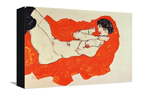 Reclining Female Nude on Red Drape, 1914 Stretched Canvas Print by Egon Schiele - 14.5 x 9.5 in