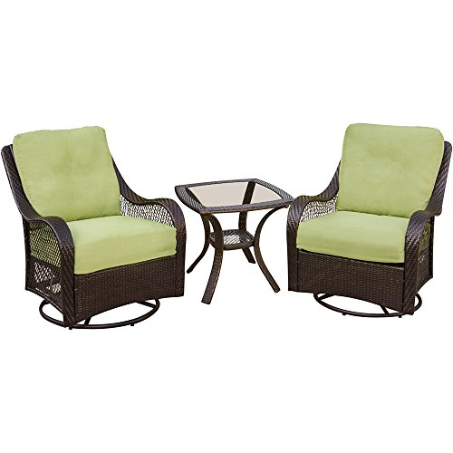 Orleans 3-Piece Outdoor Lounging Set, Includes 2 Swivel-Gliders and 24 by 24-Inch End Table (Days End Glider Chair)