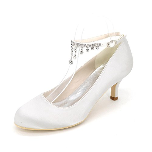 L@YC Frauen High Heel Frühling Sommer Herbst Winter Satin Hochzeit Party & Abend Stiletto Strass blau lila weiß rot Weiß
