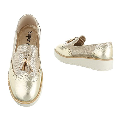 Ital-Design Slipper Damenschuhe Halbschuhe Gold