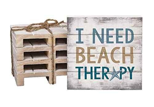 I Need Beach Therapy Rustic Look 4 x 4 Inch Dried Pine Wood Pallet Coaster, Pack of 4