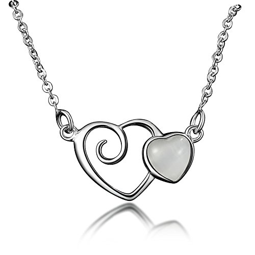 Price comparison product image 925 Sterling Silver Love Heart Opal Pendant Necklace For Women Girls Party Jewelry Mother's Day Gift