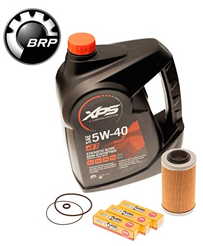 Sea Doo Oil Change Kit W/ Filter O Rings & Spark Plugs 4-Tec GTI GTX RXP RXT GTR (Brp Xps Synthetic Blend 4 Stroke Oil)