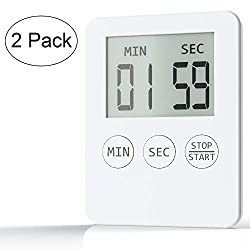 Attom Tech Ultra Slim Kitchen Timer, Thin Small Digital Mini Cooking Timer with Alarm and Magnet Back for Cooking Baking Sports Nap Games Office(White) (2)