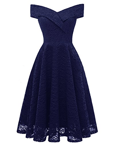 ANCHOVY Womens Floral Lace Cocktail Party Dress Vintage Off Shoulder Bridesmaid Swing Dress C79 (Navy Blue, XXL)