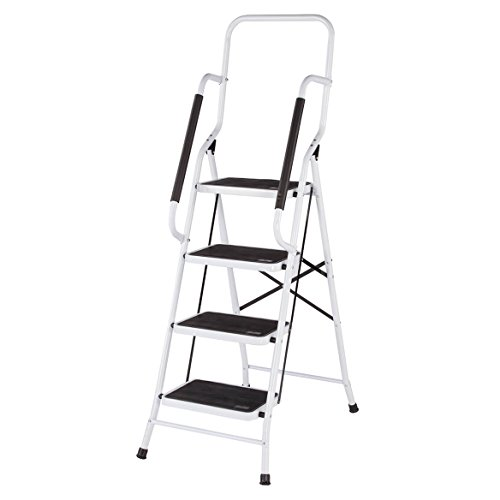 Safety 4 Step Ladder - Folding Four Step Ladder with Handrails by LivingSURE
