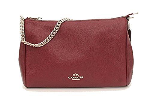 Coach Pebble Leather Carrie Crossbody Handbag, Burgundy