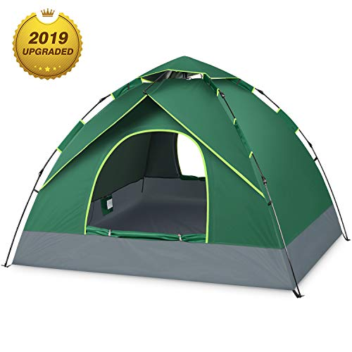 BATTOP 3-4 Person Tent for Family Camping Automatic Instant Pop Up Tents 4 Season Backpacking Tent for Outdoor 98.25″ L x 98.25″ W x 58.95″ H