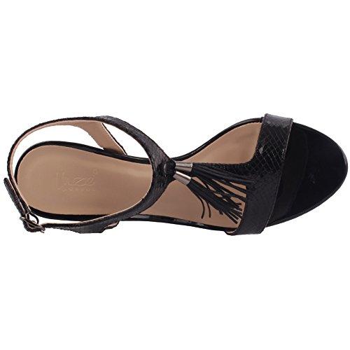 Unze Mujeres 'Sofia' Detalle de la borla Bajo Mediados de Alto Talón Partido Prom Reunión Brunch Carnaval Boda Tarde Sandalias Talones Zapatos Uk Tamaño 3-8 Negro