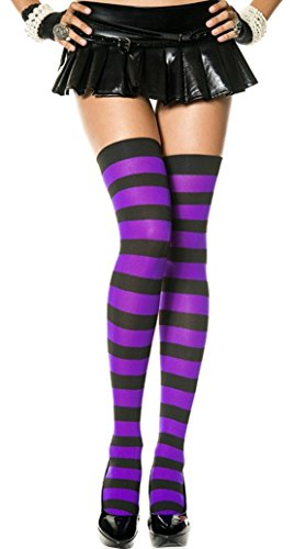 Women One Size Black/Purple Wide Stripes Thigh High Stockings
