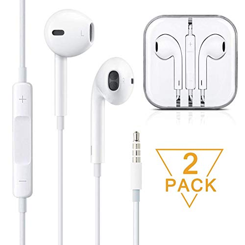 Premium Earphones/Earbuds/Headphones with Stereo Mic&Remote Control for iPhone iPad iPod Samsung Galaxy and More Android Smartphones Compatible With 3.5 mm Headphone [White][2-PACK] by my-handy-design