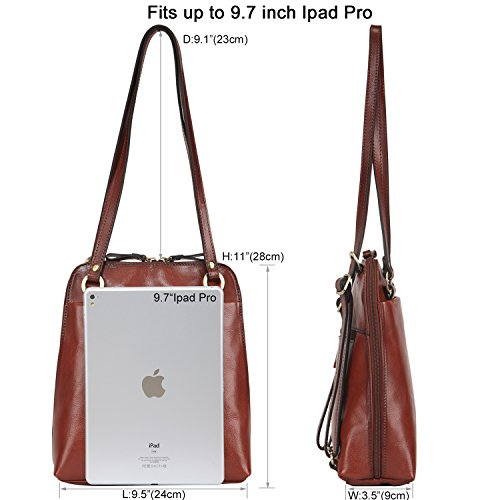 Banuce Womens Italian Leather Small Dual Use Convertible Backpack Shoulder  Bag Color Light Brown 81225a91ac3ac