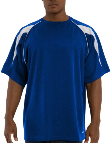 Russell Athletic Men's Big and Tall Dri-Power Pieced Crew with Piping, Royal/White, 3XLT