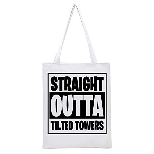 Straight Outta Tilted Printed Tote Bag, 14.5x15