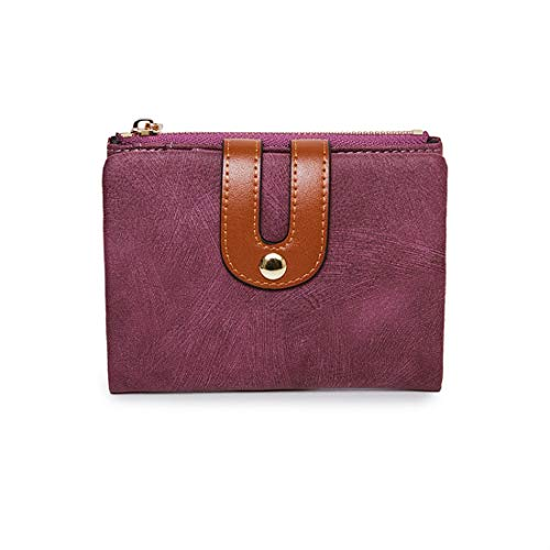 Women's Small Wallet Bifold Soft Leather Thin Short Wallets RFID Blocking Ladies Mini Purse with ID Window (Purple) by TooTa