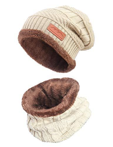 MissShorthair Men Beanie Hat Scarf Set Slouch Warm Knit Hat Neck Warmer for ()