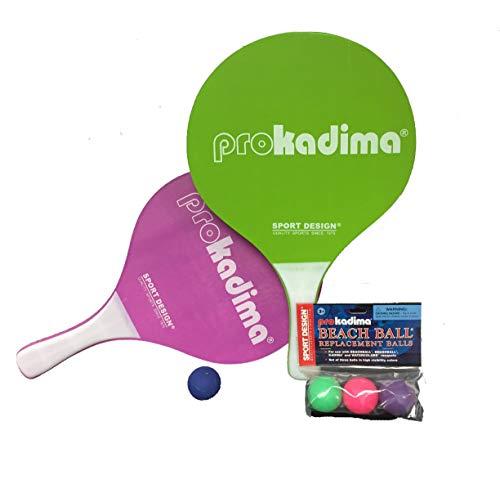 Pro Kadima Paddle Raquet Ball Set - Solid Colors - Bundle Pack (4 Balls Included) (Green/Purple)