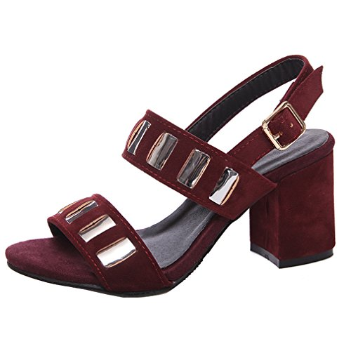 High Buckled Buckled Womens ENMAYER Heels Sandals Red Convenient High Convenient Sandals Heels Wine ENMAYER Womens Wine 4vqAAX