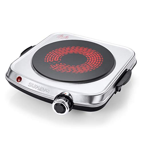 SUNAVO Electric Infrared Burner, 1200W Ceramic Glass Hot Plate, 6 Power Levels Single Burner for Kitchen Camping RV and More