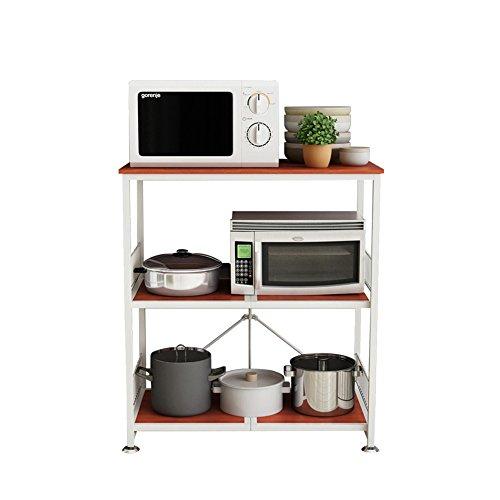 Kitchen Shelf Floorstanding Trolley 3-Tier Storage Spice Rack Oven Rack Rice Cookers Shelf 84×46×89 Cm ( Color : Cherry color ) ()