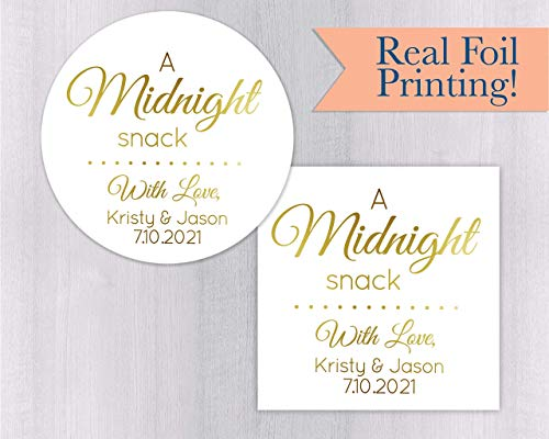Midnight Snack, Color Foil Wedding Stickers, Wedding Favor Labels for Cake Boxes (#135-F) ()