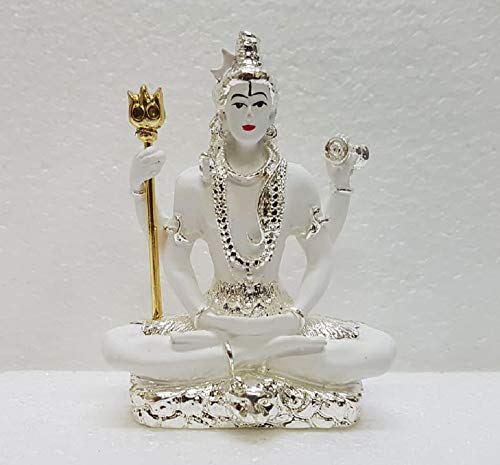 Gold Art India Silver Plated Lord Shiva Idol (White) (3.3 inches Height)