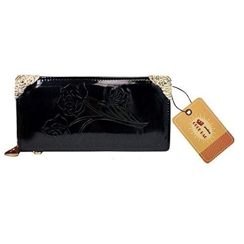 Goodbag Boutique Lady Emboss Rose Flower Pattern Handbag Faux Patent Leather Long Clutch Wallet Black