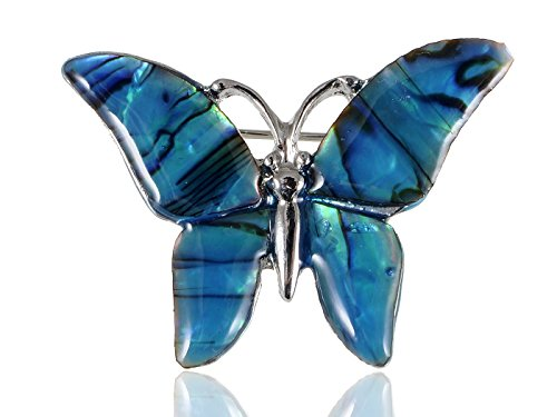 Blue Butterfly Pin - Alilang Small Watermarks Glossy Abalone Shell Winged Butterfly Silvery Tone Pin Brooch