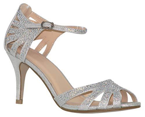 MVE Shoes Women's Party Pumps-Pointed Low Kitten Heel-Rhinestone Shoe-Classic Slip On-Weedding Dress Shoe by Classy Women, Silver fab Size