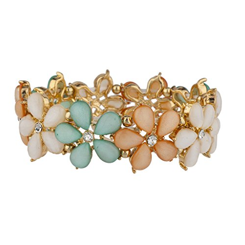 Sterling Silver Stretch Ring (Lux Accessories Shades of Spring Flower Stretch Bracelet)