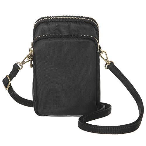 (MINICAT Nylon Small Crossbody Bags Cell Phone Purse Smartphone Wallet For Women (Black))
