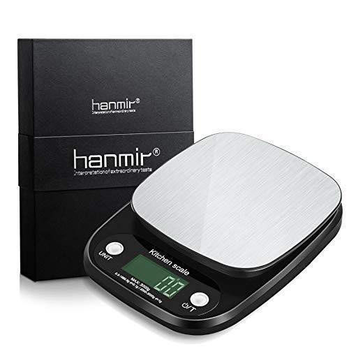 Báscula Digital de Cocina hanmir Peso de Cocina 3 Kg/ 0.1g, Alta precisión, Acero Inoxidable, Pantalla LCD, balanza de Cocina, Negro(Baterías ...