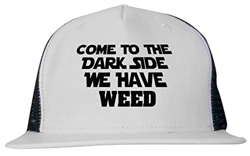 99 Volts Come to The Dark Side We Have Weed Unisex Trucker Hat Cap Adjustable Black/White